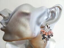 Beautiful Rhinestone Peach Bead Dangle Drop Earrings Diamante Geometric Style
