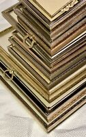 13/Set VTG Ornate Etched Brass Gold Metal Picture Frame Rectangle Oval MCM Lot