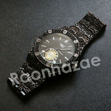 HIP HOP ICED OUT PAVE JET BLACK METAL DOPE GANGSTA TECHNO PAVE WRIST WATCH