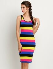"""KATEY"" BEAUTIFUL LADIES BLACK PINK YELLOW STRIPE SIZE 12 SUMMER STRETCH DRESS"