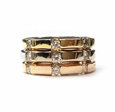 3 Ring Set in Tri-Color 14kt Gold w/Diamonds. 3-3mm Bands in White,Yellow,Green
