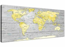 Large Yellow Grey Map of World Atlas Canvas Wall Art Print - Maps Modern 120cm W