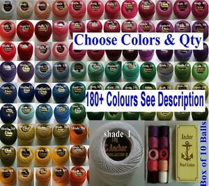 10 Anchor Pearl Perle Cotton Crochet embroidery thread balls 185 Colors, choose
