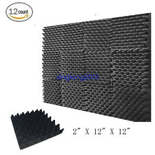 "12 Pk-Acoustic Studio Soundproofing Egg Crate Foam Wall Tiles 2"" X 12"" X 12"""