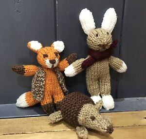 3 Hand Knitted Soft Toys. Fox, Rabbit and Hedgehog. Educational / Learning/ Play