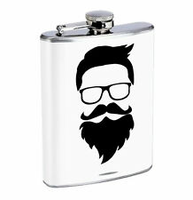 Flask Hipster Beard and Glasses 01R 8oz Stainless Steel Hip Drinking Whiskey