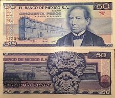 MEXICO 1981 50 PESOS UNC BANKNOTE SERIE KG P-73 JUAREZ BUY FROM A USA SELLER !!!
