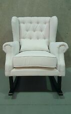 **SALEWhite Convertible Fabric Tufted Linen Rocking Chair Nursery Arm Chair**
