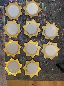 Set Of 10 Vietri (Italy) Palladio Gold Accent Salad Plates
