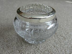 HEAVY Vintage Lead Crystal Cut Glass Rose Bowl, lovely item with Top