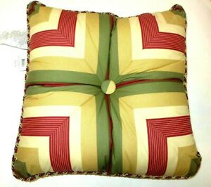 Waverly Decorative Bed Pillow Gold/Green/Burgundy Striped Corded 20 x 20