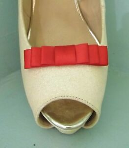 2 Small Red Triple Bow Clips for Shoes - other colours on request
