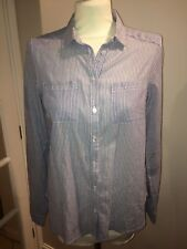 New Look Women Blue and White Striped 100% Cotton Long Sleeve Shirt - Size UK 6