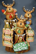 Ceramic Bisque Ready to Paint Three Reindeer on a Tree Stump with signs