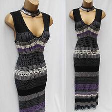 KAREN MILLEN Black Purple Grey Hand Crochet Beaded Wiggle Dress SZ 3 UK 10/12