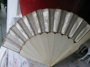 ANTIQUE SILK FRENCH ALENCON  LACE FAN EARLY 1900'S CELLULOID FRAME 17""
