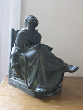 """antique Bronze bookend Laughing Franciscan Monk - signed """"Coffin"""" - 3 pounds"""