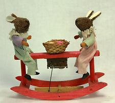 Antique German Easter Rabbits on Windup Rocker Toy c1910