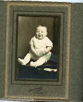 Antique Photo In Folder, Adorable Smiling Baby Holding Ball-O'Neill, Nebraska