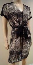 Jour BIRGER & MIKKELSEN Noir Crème Soie géométrique à col V à nouer à la taille robe UK8