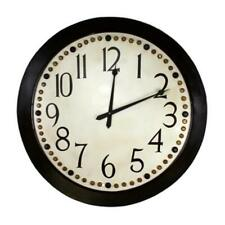 Oversize Classic Retro Round Wall Clock 45 in Riveted Brown Black Cream Gold