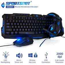 SportsBot SS301 LED Gaming Over-Ear Headset Headphone, Keyboard and Mouse Combo