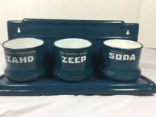 Vintage Dutch Zand Zeep Soda Enamel Laundry Rack With Three Pots Blue Enemalware