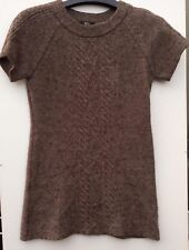 Mark & Spencer Brown Knit Wool Blend Jumper Dress Short Sleeve Size 14