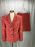 Larry Levine Women's Pink Silk Skirt Suit 12