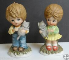 Vintage Ardco Porcelain Boy and Girl Holding Kitty Cats Figurines