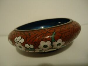 Antique Chinese CLOISONNE BOWL w/ Floral Motif Footed Base