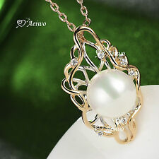 18K WHITE YELLOW GOLD GF MADE WITH SWAROVSKI CRYSTAL PEARL PENDANT NECKLACE