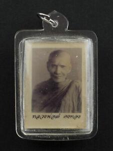 Ancien pendentif photo de LP Tae Maitre Gourou amulette thaie Chance 2198
