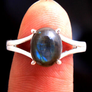 Natural Labradorite Gemstone 925 sterling Silver Jewelry Solid Ring Size US 8