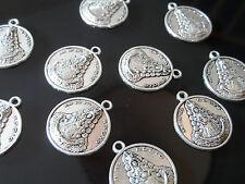 10 Colgantes Medianos Zamak,Virgen del Rocio,abalorios,pendant,pendentif,anhänge