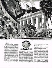 1930s BIG Vintage Melbourne Brindle University Of Hawaii Palm Tree Art Print Ad