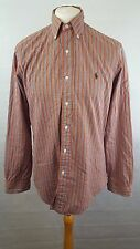 MENS RALPH LAUREN CUSTOM FIT SHIRT SIZE UK M MEDIUM - ORANGE GREEN PURPLE STRIPE