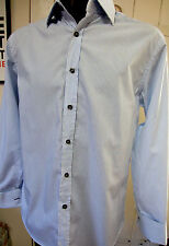 """Paul Smith ps blue and white striped double Cuff Cotton Shirt UK 15.5"""" 39 cm"""