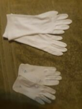 Elegant Vintage 2 Sets Cotton White & Baby Blue Ladies Gloves Crochet Motif Vgc