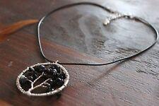 Funky Handmade Black Cord Black Onyx Stone &Silver Tree of Life Pendant Necklace