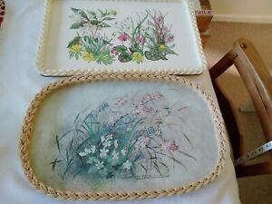 2 Vintage Serving Tray Royal Melamine Smit of Guildford. Floral Design