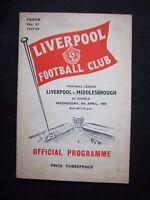 LIVERPOOL FC - MIDDLESBROUGH FC  1958/59  Division 2  // Orig.Programme  !  RARE