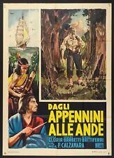 MANIFESTO, DAGLI APPENNINI ALLE ANDE dal libro CUORE di DE AMICIS, 2a ed. 1951 B