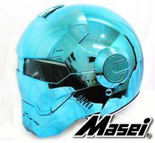 MASEI 610 BLUE CHROME MOTORCYCLE BIKE COLA HARLEY NASCAR ARAI SHOEI HELMET S4