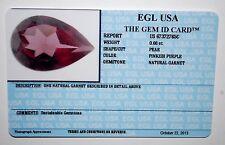 EGL USA CERTIFIED NATURAL GARNET PEAR SHAPE PINKISH PURPLE 0.66 CT GEMSTONE