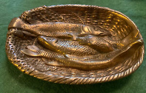 Antique Vtg Brass Bronze Fish Net Basket Card Pocket coin Tray Ashtray Pikes Old