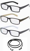 3 Pack Bulk Reading Glasses Square Frame Unisex Style New w/Strip Spring Temple