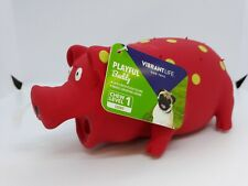"""NEW Vibrant Life Playful Buddy """"Oinking"""" Dog Toy Chew ~ Red ~ Chew Level 1"""