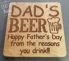 DAD'S BEER LASER ENGRAVED COASTER FATHERS DAY GIFT WOODEN