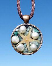 Mini Starfish Asteroidea Energy Pendant with Pearls & Amazonite. Copper Bezel.